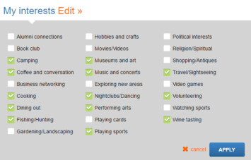 My Interests section on Match.com profile