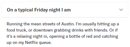 typical friday night OkCupid answer