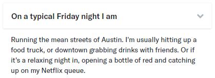 typical friday night OkCupid answer