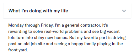 what I'm doing with my life OkCupid example