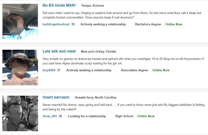 dating headline in POF search results
