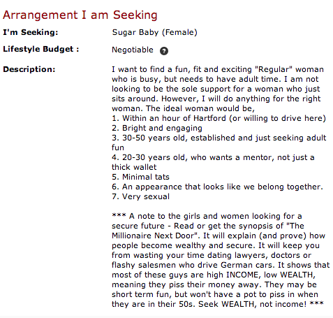 Women seeking men profile description