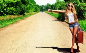 Picture of hot woman hitchhiking.