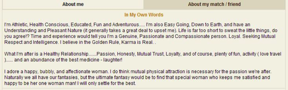 Example of About Me profile text on MillionaireMatch.com