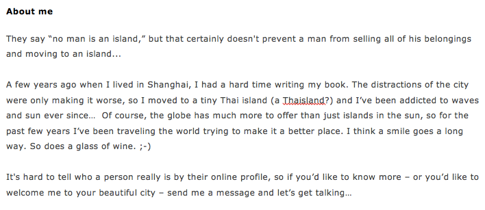 "Example of ""About Me"" text on Travelgirls website that works."