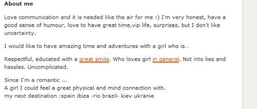 Profile text on Travelgirls profile that will attract sexy, outgoing girls.