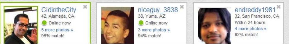 Picture that shows where headlines appear on Match.com.