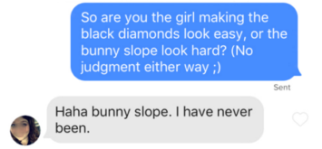 tinder message about skiing