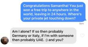 Tinder icebreaker about travel