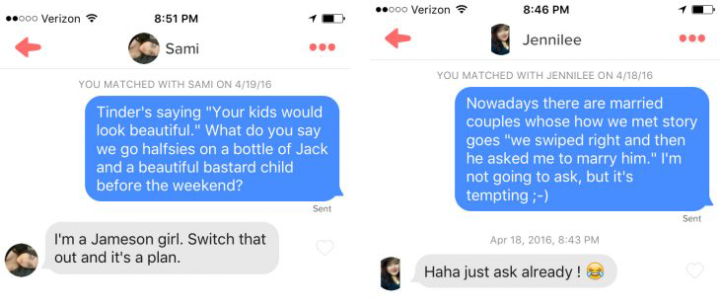 examples of Tinder messages
