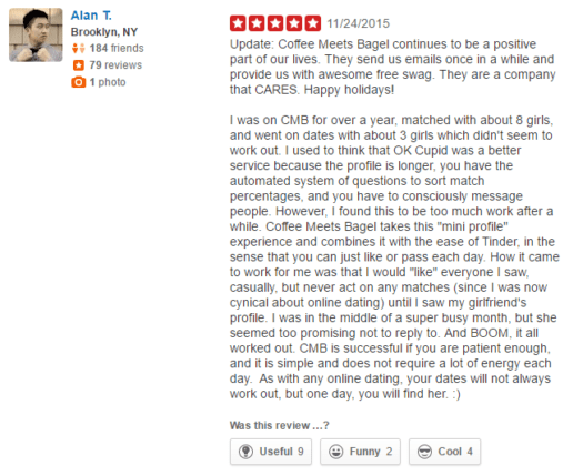 CoffeeMeetsBagel user reviews