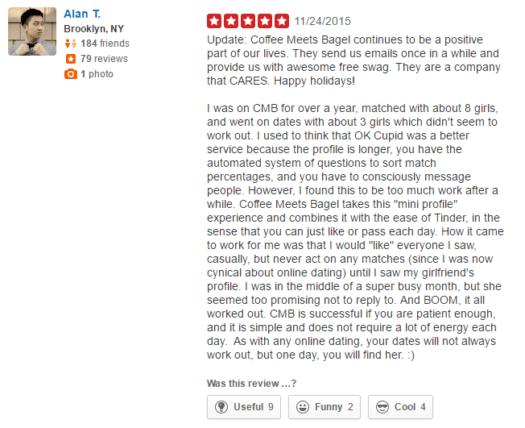 CoffeeMeetsBagel user reviews