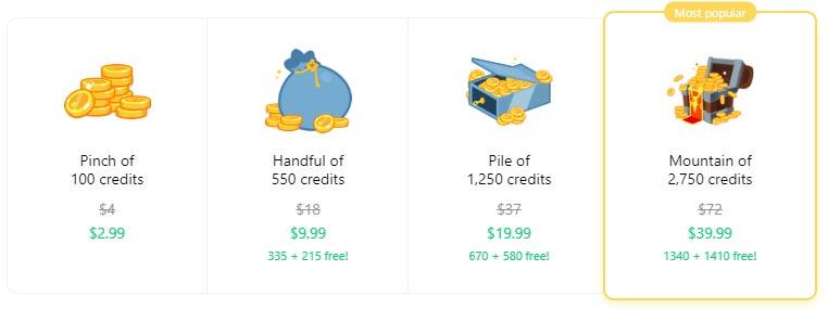 Badoo credit cost