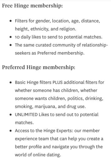 Hinge Preferred member benefits