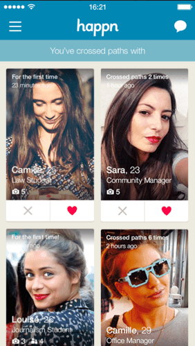 Happn app screen