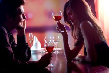 Couple On Romantic Date Wine Toast
