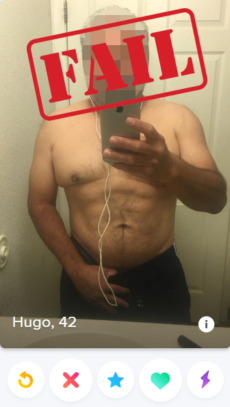 shirtless selfie in a Tinder profile