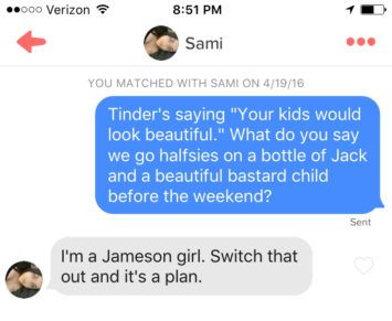 funny tinder message example