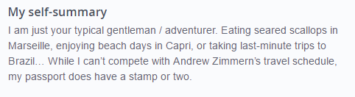 OkCupid profile example for someone who travels