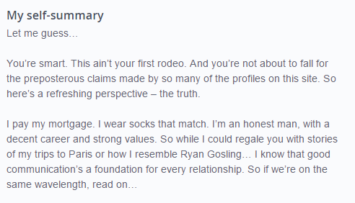 down to earth style OkCupid profile example