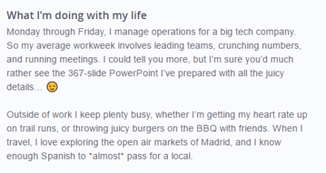 okcupid profile example for guys