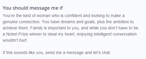 how to answer the about her on OkCupid