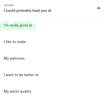 Talent section of OkCupid profile