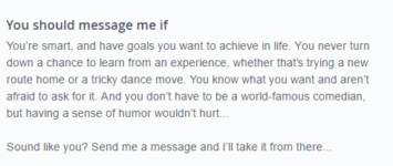 OkCupid you should message me if example