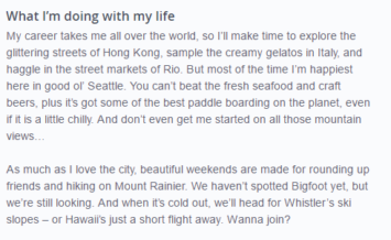 example of a good okcupid profile answer