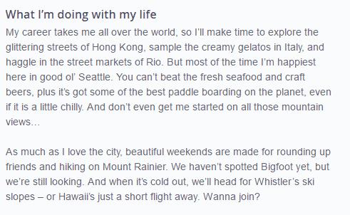 OkCupid Aspirations example