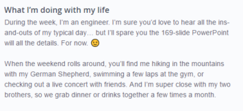 okcupid profile example for an active guy