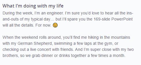 my life OkCupid answer