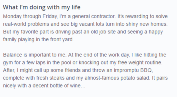 good okcupid profile example