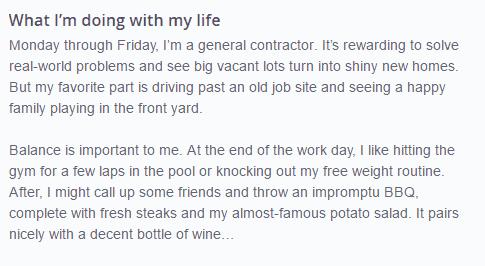 example of a good OkCupid profile