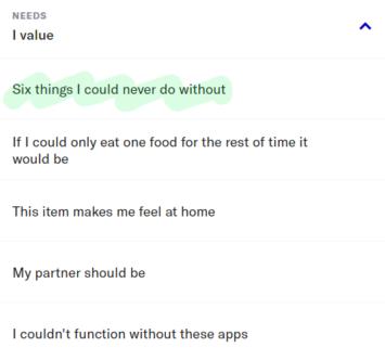 OkCupid profile needs section