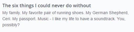 OkCupid Example of a list