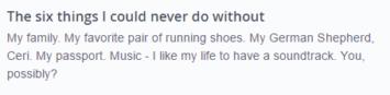 good OkCupid 6 things example
