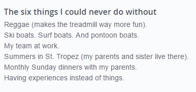 Six things list for OkCupid