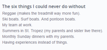 good list for an okcupid profile