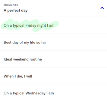 OkCupid Moments section