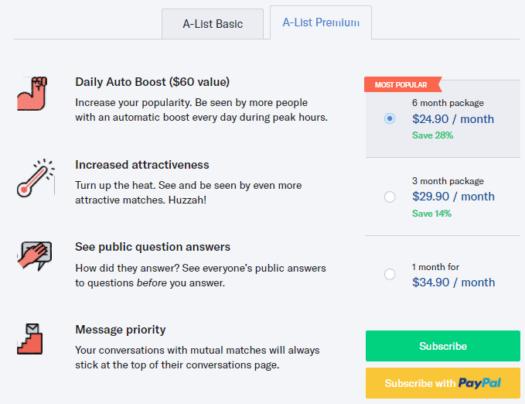 OkCupid A-List Premium features