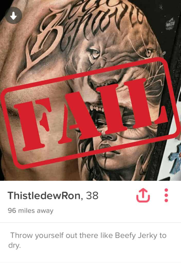 tinder bio fail
