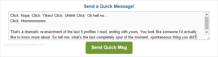 Examples of good hookup site messages