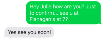 date confirmation text example