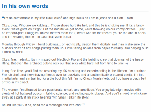 Example of introduction for dating sites #2