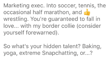 good Bumble profile example