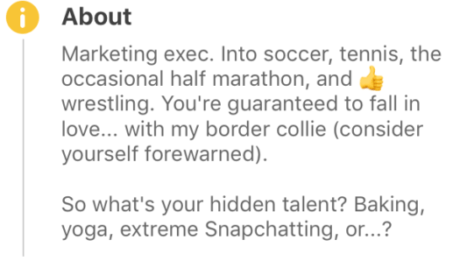 Bumble profile example for men