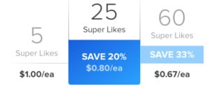 Tinder Super Likes cost