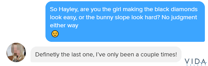 Tinder line about skiing