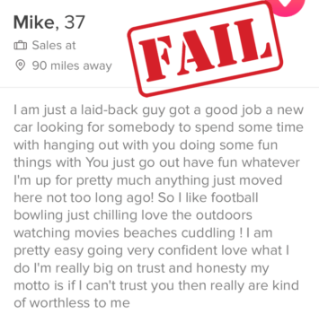 bad Tinder profile
